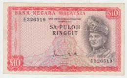 Malaysia 10 Ringgit 1967 - 1972 VF+ RARE P 3a 3 A - Malaysie