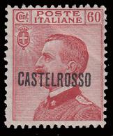 ITALIA - Isole Egeo: CASTELROSSO - Francoboolo D'Italia Del 1906/20 (soprastampa Orizzontale): 60 C. Carminio - 1922 - Levant