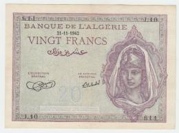 Algeria 20 Francs 1942 VF++ CRISP Banknote P 92a 92 A - Algérie