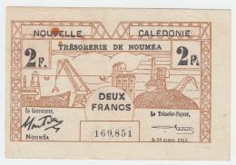 New Caledonia 2 Francs 1943 VF+ Pick 56b 56 B - Nouméa (New Caledonia 1873-1985)