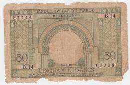 Morocco 50 Francs 2-12- 1949 FAIR Banknote Pick 44 - Morocco