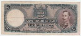 Fiji 5 Shillings 1941 RARE Banknote Pick 37d 37 D - Fiji
