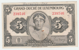 LUXEMBOURG 5 FRANCS 1944 VF+ Pick 43a 43 A - Luxembourg