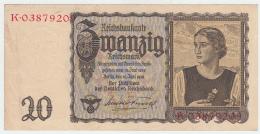 GERMANY 20 REICHSMARK 1939 VF+ Pick 185 - [ 4] 1933-1945 : Third Reich