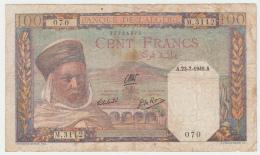"""Algeria 100 Francs 1945 """"F"""" Banknote Pick 85 - Algérie"""
