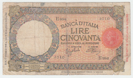 Italy 50 Lire 1943 VG Pick 58 - [ 1] …-1946 : Reino