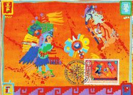 """Liechtenstein 1992: """"Altes  Amerika"""" (Gemälde Von H.M.v.Vogelsang) Zu 974 Mi 1033 Yv 974 Auf MK 106 A - American Indians"""