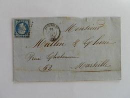 EMPIRE NON DENTELE 14 SUR LETTRE DE BRIGNOLLES A MARSEILLE DU 16 JUILLET 1861 (PETIT CHIFFRE 529) - Postmark Collection (Covers)