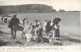 80 Mers Les Bains Sur La Plage à Marée Haute Falaises Treport Cpa Carte Animée Timbre Paire Attachée Semeuse Cachet 1910 - Mers Les Bains