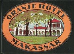 Kofferaufkleber Makassar, Oranje Hotel - Alte Papiere