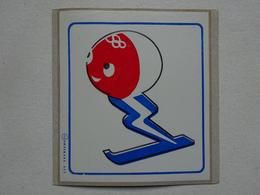 1 Sticker Autocollant JO Jeux Olympiques D'hiver Grenoble 1968 Mascotte Shuss Jim Olympics Winter Games - Habillement, Souvenirs & Autres