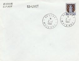 Poste Automobile Rurale : Griffe Linéaire : Evron CPN 2 - 53-Livet - Postmark Collection (Covers)