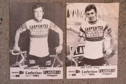 2 Supporters Kaarten Cyclisme Wielrennen Coureurs Carpenter Confortluxe Flandria Verplancke Van Looy Campagnolo - Cyclisme