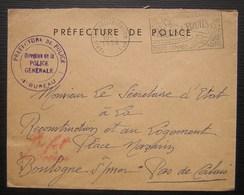 Préfecture De Police De Paris Direction De La Police Générale4eme Bureau, Griffe Rouge Préfet De Police (1956) - Poststempel (Briefe)