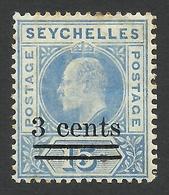 Seychelles, 3 C. On 15 C, 1903, Sc # 49, Mi # 49, MH. - Seychellen (...-1976)