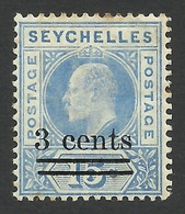 Seychelles, 3 C. On 15 C, 1903, Sc # 49, Mi # 49, MH. - Seychelles (...-1976)