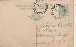 Valmontone. 1918. Annullo Frazionario (55 - 251), Su Cartolina Postale Completa Di Testo - Marcophilie