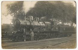 Locomotive P.L.M. 2983  Denain Carte Photo Beau Plan Coins Arrondis - Gares - Avec Trains