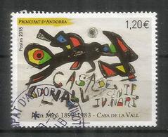 """Tableau Joan Miro """"Casa De La Vall"""", Un Timbre Oblitéré.1 ère Qualité, Année 2018 - French Andorra"""