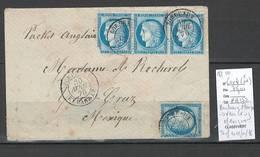 France -  Lettre Bordeaux Etranger Pour VERA CRUZ - MEXIQUE -1876 - Postmark Collection (Covers)