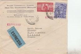 ITALIE YT 503 + 558 SUR LETTRE ESPRESSO ENTETE R. GIANNETTI MILANO 22/7/50 POUR CANNES FRANCE - 6. 1946-.. Repubblica