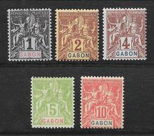 GABON TYPE GROUPE N° 16 à 20 NEUF * - COTE = 20.00 € - Gabon (1886-1936)