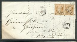 FRANCE 1863 N° 21 Paire   S/Lettre Obl. GC 1053 Clermont Ferrand - 1862 Napoleon III
