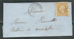 FRANCE 1864 N° 21  S/Lettre Obl. GC 3372 Senarpont (indice 8) - 1862 Napoleon III
