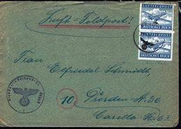 ALLEMAGNE - 1944 - Paire Luftfeldpost Franchise Militaire - Enveloppe Pour Dresden - Censure - Lettre 4 Pages - B/TB - - Deutschland