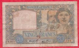 """20 Francs """"Science Et Travail"""" Du 18/09/1941 --Série B.5671 ---G/TB+ - 1871-1952 Anciens Francs Circulés Au XXème"""