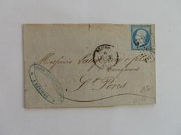 EMPIRE NON DENTELE 14 SUR LETTRE DE BEZIERS A ST PONS DU 6 FEVRIER 1860 (PETIT CHIFFRE 389) - 1849-1876: Période Classique