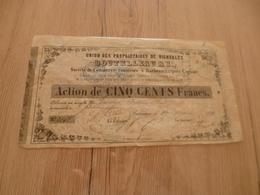Action 1861 500 Francs Union Propriétaires De Vignobles Boutelleau - Agriculture