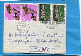 MARCOPHILIE-R C A -lettre>Françe-cad MBRES1982-4-stamps-N°472 Chute Empire-436 Foot 82--équipe Du Perou - Central African Republic