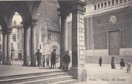 PAVIA-PIAZZA DEL DUOMO-BELLA ANIMAZIONE-CARTOLINA NON VIAGGIATA ANNO 1915-1925 - Pavia