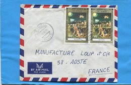 MARCOPHILIE-TCHAD -lettre -Françe-cad -Largeau1977-2-stamps-N°A188Tableau Nativité-Albrecht Altdorder - Central African Republic