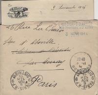Poste Aux Armées HOPITAL TEMPORAIRE 27 AURAY 11 Corps Armée 3 .11.1914 Avec Lettre En-tête Menhir Crocolan Par Carnac - Marcofilie (Brieven)