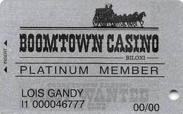 Boomtown Biloxi Casino - Biloxi, MS - PLATINUM Slot Card - Smaller Text On Reverse - Casino Cards
