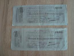 LOT DE 2 LETTRES DE CHANGE DERIGNY FRERES MERCERIE BONNETERIE ORLEANS 1876/1878 - Lettres De Change