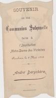 ROUBAIX  Faire-part De Communion De André Derychère - Communion