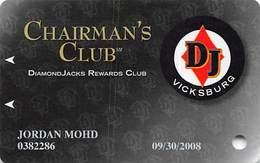 Diamond Jack's Casino Vicksburg, MS - Slot Card - Copyright 2006 Chairman Level - Web Adr Toward Right - Casino Cards