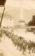Bonneville  Carte Photo Défilé Lors D'un Fete ??? Pompiers Circulée En 1910 (photo Rusche Timbre à Sec) - Bonneville