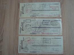 LOT DE 3 LETTRES DE CHANGE CHOCOLAT POULAIN BLOIS 1950 - Wissels