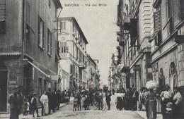 SAVONA-VIA DEI MILLE-TUTTI IN POSA DAVANTI AL FOTOGRAFO PURE IL MACELLAIO-CARTOLINA NON VIAGGIATA ANNO 1915-1925 - Savona
