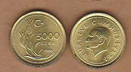 AC - TURKEY 5000 LIRA - TL 1998 BRASS 3.50 GRAM THIN UNCIRCULATED - Türkei