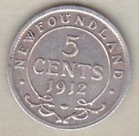 TERRE NEUVE /NEWFOUNDLAND . 5 CENTS 1912. GEORGES V . ARGENT - Canada