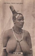 South Africa Typical Zulu Semi-nude Woman Peculiar Head-dress, C1910s/20s Vintage Postcard - Afrique Du Sud, Est, Ouest