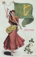 Ireland, Artist Image Woman With Irish Flag, C1900s Vintage US-issued Postcard - Ireland