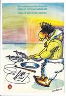 Kunuk Platov Drawing / Comics Humour Eskimo Inuit Postcard - 1987 Unused - Greenland