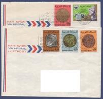 MAROC 1976-1979 N°  YT 775 776 Anciennes Monnaies Centenaire De La 1ere Liaison Téléphonique / Enveloppes Vers La France - Maroc (1956-...)
