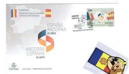 FDC OFICIEL CORREOS 2018 ANN.25 ANYS RELATIONS - Andorre Espagnol